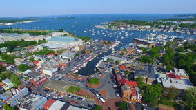 Annapolis Skyward. View of the Annapolis Harbor from the air. Including boats sailing in the bay and busy streets Stock Photo