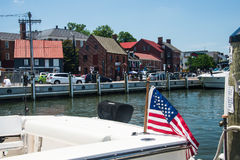 Annapolis Waterfront. Historical Annapolis Street scene. Old Buildings carefully preserved and brightly painted as historical reminders of the past. Some contain Royalty Free Stock Images