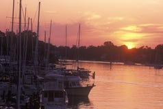Annapolishaven bij Zonsondergang, Annapolis, Maryland Stock Foto