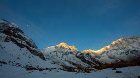 Annapurna summit at sunrise royalty free stock photography