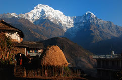 annapurna在村庄之下的喜马拉雅山mt 免版税库存照片