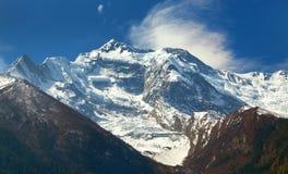 Annapurna 2 ΙΙ από ανώτερο Pisang, στρογγυλό κύκλωμα Annapurna Στοκ Εικόνα
