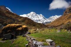 Annapurna Ι 8,091m από το στρατόπεδο βάσεων Machapuchare, Νεπάλ Στοκ εικόνα με δικαίωμα ελεύθερης χρήσης