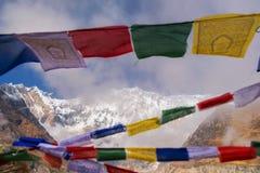 Annapurna Ι 8,091m με τη σημαία προσευχής από το στρατόπεδο βάσεων Annapurna, Νεπάλ Στοκ Φωτογραφίες