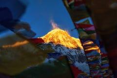 Annapurna Ι 8,091m με τη σημαία προσευχής από το στρατόπεδο βάσεων Annapurna, Νεπάλ Στοκ εικόνα με δικαίωμα ελεύθερης χρήσης