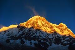 Annapurna Ι 8,091m στην ανατολή από το στρατόπεδο βάσεων Annapurna, Νεπάλ Στοκ Φωτογραφία