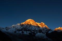 Annapurna Ι 8,091m στην ανατολή από το στρατόπεδο βάσεων Annapurna, Νεπάλ Στοκ εικόνα με δικαίωμα ελεύθερης χρήσης