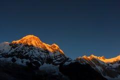 Annapurna Ι 8,091m στην ανατολή από το στρατόπεδο βάσεων Annapurna, Νεπάλ Στοκ φωτογραφίες με δικαίωμα ελεύθερης χρήσης