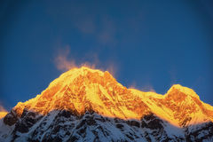 Annapurna Ι 8,091m στην ανατολή από το στρατόπεδο βάσεων Annapurna, Νεπάλ Στοκ Εικόνες