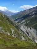 Annapurna και κοιλάδα Marsyangdi από Khangsar, Νεπάλ Στοκ φωτογραφία με δικαίωμα ελεύθερης χρήσης