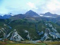 Annapurna от деревни Bhraka, Непала Стоковые Изображения