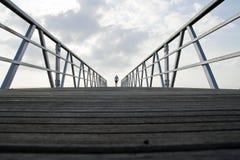 annapurna подготовляет gandaki скрещивания моста gesturing trekker реки kali Гималаев поднятое Непалом trekking Стоковое фото RF