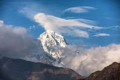 Annapurna. South cover with clouds, Himalaya, Nepal stock photo