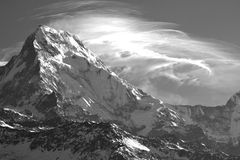 Annapurna, B/W, from Poon Hill, Nepal Stock Images