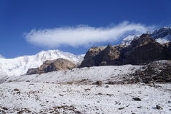 Annapurna Base Camp Clear Day. Perfect trekking day at Annnapurna Base Campe, Nepal Stock Image