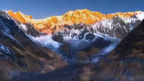 Annapurna base camp Golden hour in mount annapurna stock images