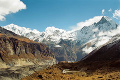 Annapurna Base Camp, Nepal. View of the Annapurna base camp with mount Machhapuchhre in the background, Nepal royalty free stock photos