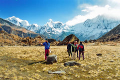 Annapurna Base Camp, Nepal. Climbers early in the morning at the Annapurna Base Camp in the Himalayas, Nepal stock images