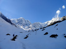 Annapurna basin walk trekking to annapurna base camp Stock Photos