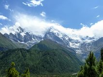 Annapurna 2 in the clouds, Nepal Stock Photos