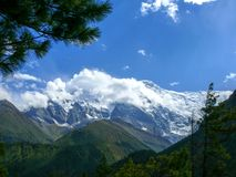 Annapurna 2 in the clouds, Nepal Stock Image