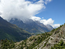 Annapurna 3 in clouds, Nepal Royalty Free Stock Image