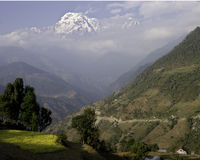 Annapurna and Countryside. Annapurna Peak and Trail, Nepal, Annapurna Conservation Area stock image