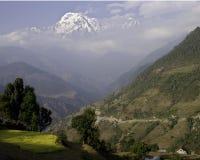 Annapurna and Countryside. Annapurna Peak and Trail, Nepal, Annapurna Conservation Area Stock Image