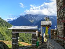 Annapurna 2 and Entrance gate to Ghyaru, Nepal Stock Photography
