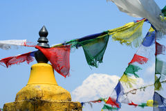 Annapurna and flags Stock Photo