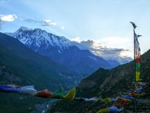 Annapurna 3 from Ghyaru at evening, Nepal Stock Photo