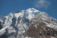 Annapurna grundläggande läger nepal himalaya Royaltyfri Bild