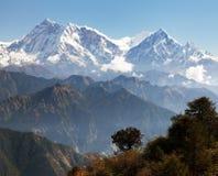 Annapurna Himal από το πέρασμα Jaljala - νεπαλικά Ιμαλάια Στοκ Εικόνες