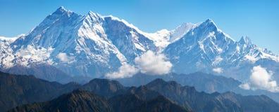 Annapurna Himal från det Jaljala passerandet - Nepal - Asien Royaltyfri Fotografi
