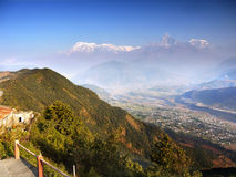 Annapurna Himalayas Nepal. Himalayas Annapurna Range seen from the Sarangkot hill. Pokhara City Nepal Stock Photos