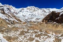 Annapurna I con il ghiacciaio del sud di Annapurna Fotografia Stock Libera da Diritti