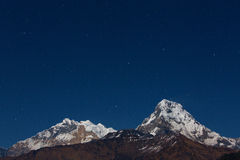 Annapurna I Himalaya Mountains View from Poon Hill 3210m at nigh Stock Images