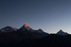 Annapurna I Himalaya Mountains View from Poon Hill 3210m at sunr Stock Photo