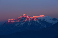Annapurna I Himalaya Mountains View from Poon Hill 3210m at sunr. Ise royalty free stock photography
