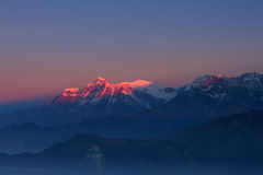 Annapurna I Himalaya Mountains View from Poon Hill 3210m at sunr Royalty Free Stock Photos