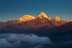 Annapurna I Himalaya Mountains View from Poon Hill 3210m at suns. Et stock photos