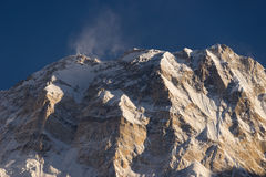 Annapurna I mountain peak at sunset, world 10th highest peak, AB royalty free stock photo