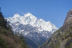 Annapurna II. Nepal. Annapurna II 7,937 m is a massif in the Himalayas stock photography