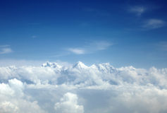 Annapurna and machhapuchhre range in the mid of clouds Royalty Free Stock Images