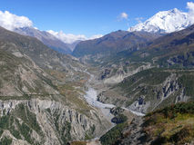 Annapurna and Manang valley from Upper Khangsar, Nepal Royalty Free Stock Photos