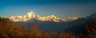 Annapurna Mountain Range. Annapurna, a collosal masiff is placed as the tenth tallest mountain in the world. Kali Gandaki river segregates Annarpurna mountain Stock Photography