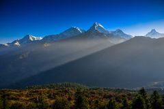 Annapurna mountain range from Poon Hill viewpoint Stock Image