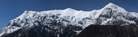 Annapurna mountain ridge in snow Royalty Free Stock Photography