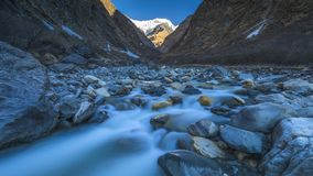 Annapurna mountain river on the way Fishtail Base camp. Valley of the Annapurna mountain river Trek around Annapurna Nepal royalty free stock images