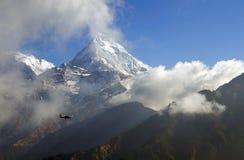Annapurna Mountain View, Nepal. Plane flying passing by Annapurna Mountain View from Poon Hill view point Stock Photos